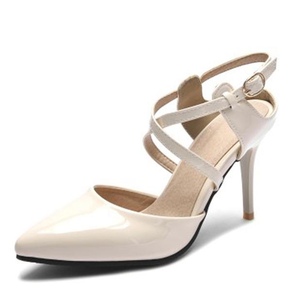 Kvinnor Konstläder Stilettklack Sandaler Pumps Stängt Toe med Spänne skor