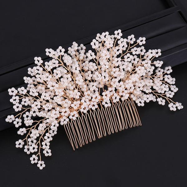 Señoras Exquisito Aleación/La perla de faux Peines y pasador con Perla Veneciano (Se venden en una sola pieza)