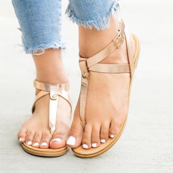 Donna PU Senza tacco Sandalo Ballerine Punta aperta con Fibbia scarpe
