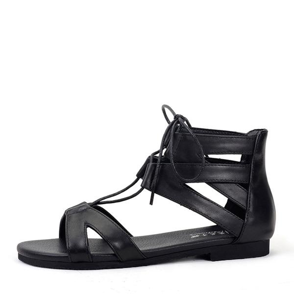 Frauen Echtleder Flascher Absatz Sandalen Flache Schuhe Peep Toe mit Zuschnüren Schuhe