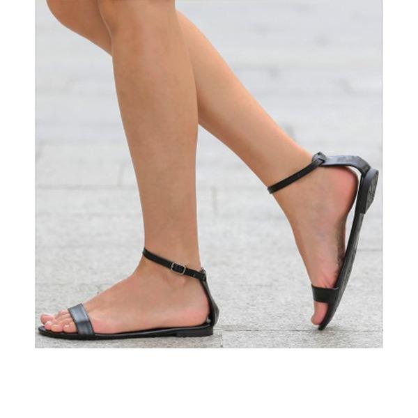 Femmes PU Talon plat Sandales Chaussures plates À bout ouvert chaussures