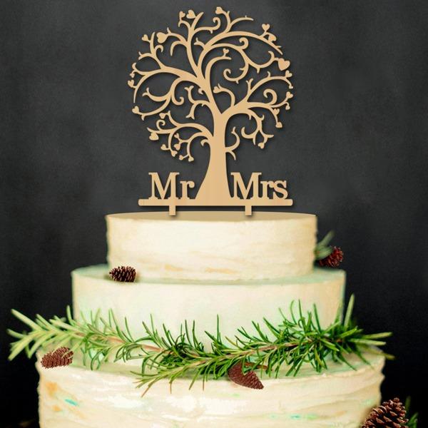 Mr & Mrs Legno Decorazioni per torte (Set di 2)
