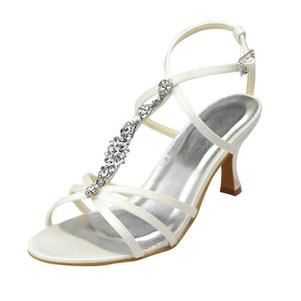 Women's Satin Spool Heel Peep Toe Sandals With Buckle Rhinestone