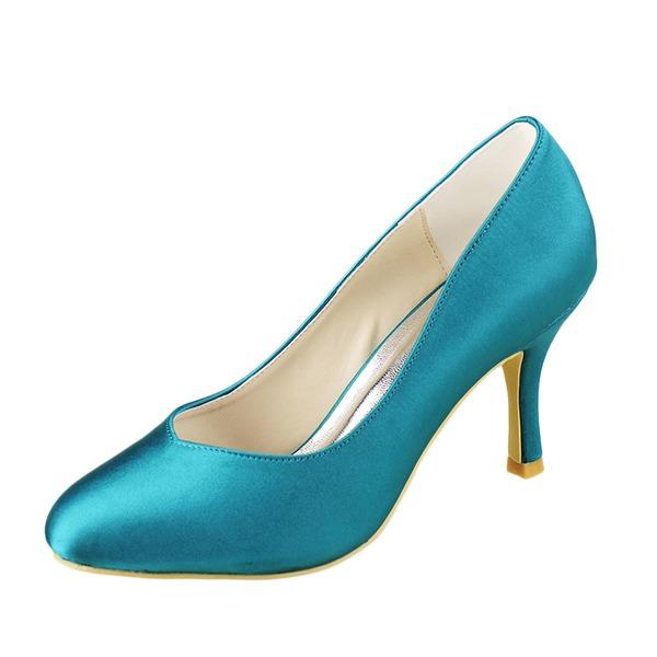 Kadın Saten İnce Topuk Kapalı Toe Pompalar