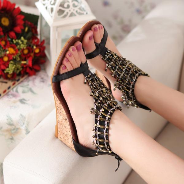 Vrouwen Kunstleer Wedge Heel Sandalen Wedges Peep Toe met Keten schoenen