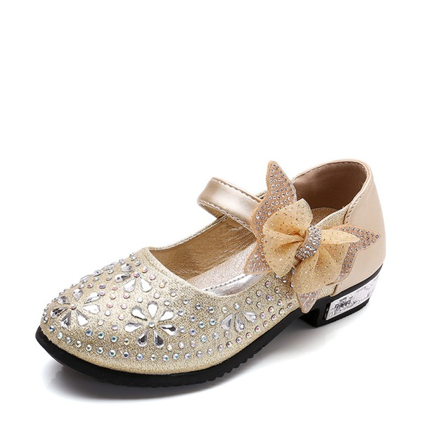 Girl's Round Toe Leatherette Flat Heel Flats Flower Girl Shoes With Bowknot Rhinestone Velcro