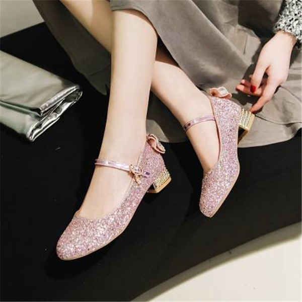 Women's Sparkling Glitter Chunky Heel Pumps Mary Jane أحذية