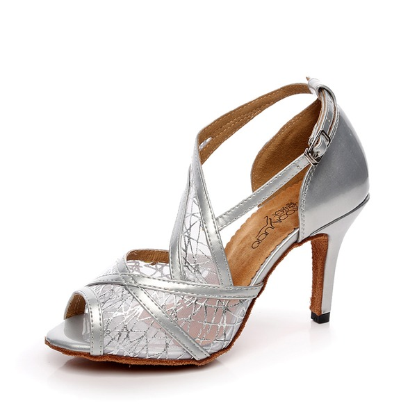 Женщины кожа Сандалии Латино с Шнуровка Обувь для танцев