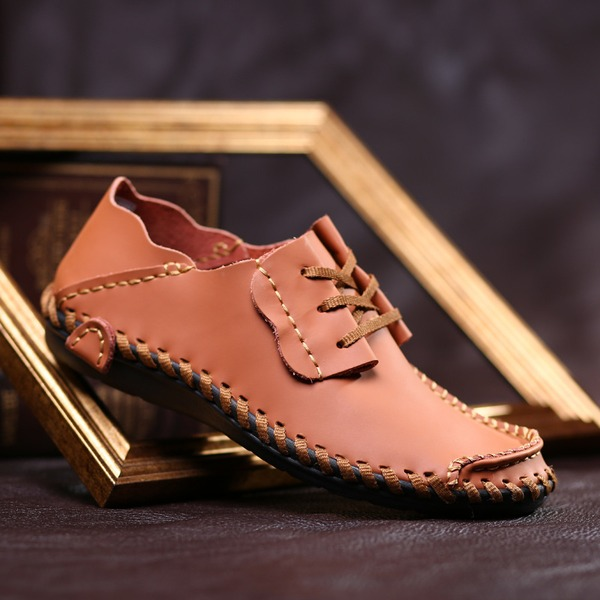 Men's Real Leather Lace-up Casual Men's Loafers