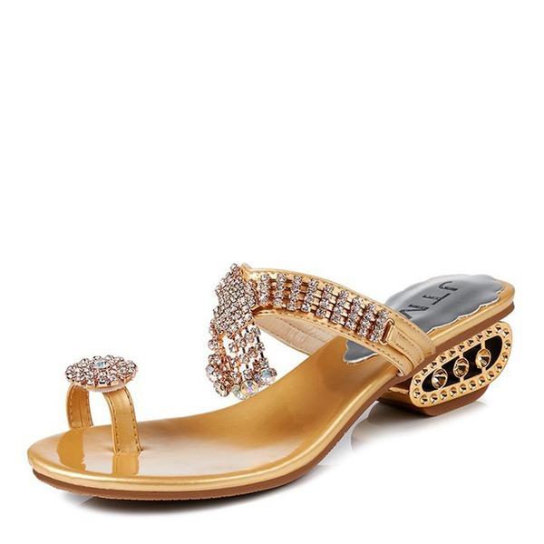 Donna Similpelle Senza tacco Sandalo Ballerine Con cinturino Infradito con Strass scarpe