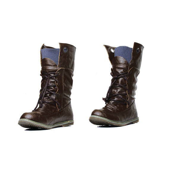 Leatherette Flat Heel Mid-Calf Boots Riding Boots With Lace-up shoes