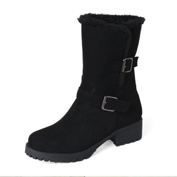 Kadın Suni deri Kalın Topuk Bot Mid-Buzağı Boots ayakkabı