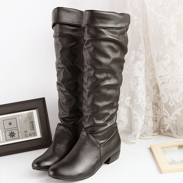Women's PU Low Heel Flats Boots Knee High Boots shoes