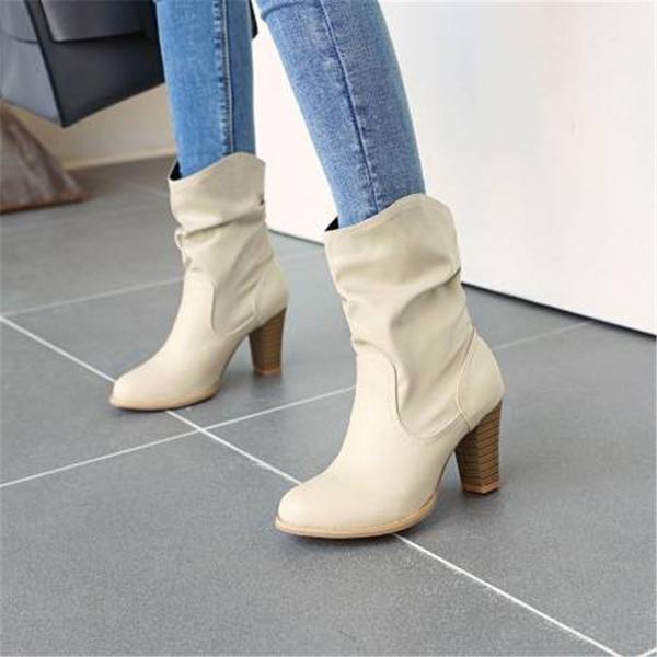 Vrouwen PU Chunky Heel Half-Kuit Laarzen met Anderen schoenen
