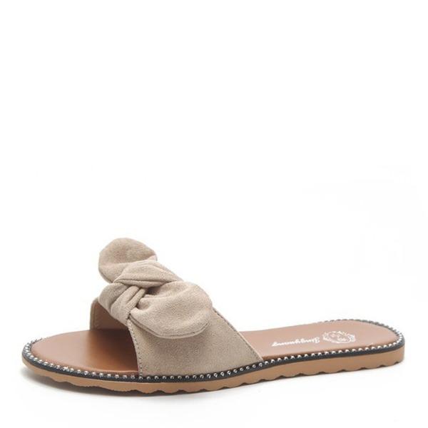 Frauen Veloursleder Flascher Absatz Sandalen Flache Schuhe Peep Toe Slingpumps mit Bowknot Schuhe