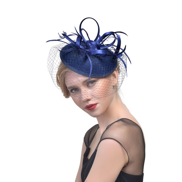 Damer' Klassisk stil Batist med Fjäder Fascinators/Tea Party Hattar