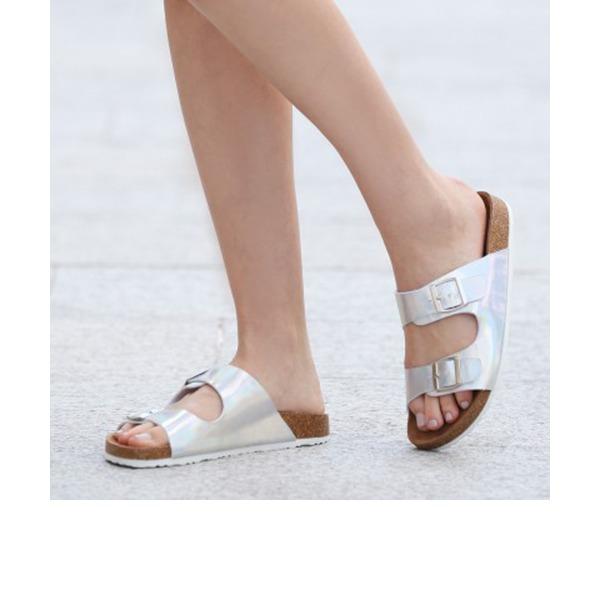 Femmes PU Talon plat Sandales Chaussures plates À bout ouvert Escarpins Chaussons avec Boucle chaussures