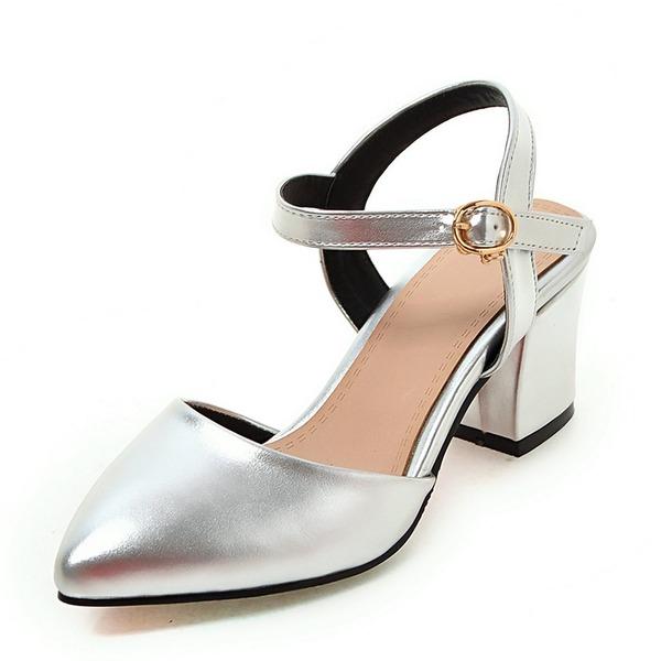 Vrouwen Kunstleer Chunky Heel Pumps Closed Toe Slingbacks Mary Jane met Gesp schoenen