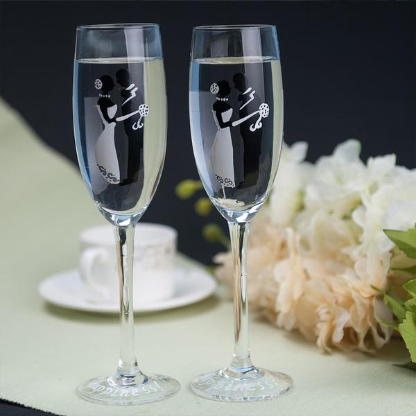 Жених и невеста дизайн стекло Поджаривание флейты (набор из 2)