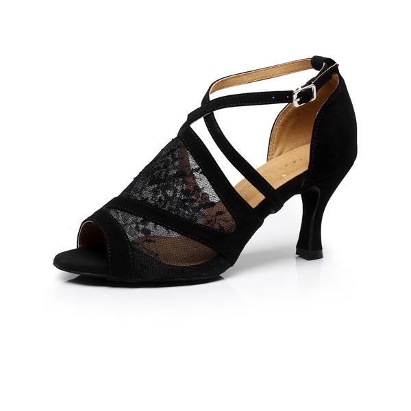 Femmes Satiné Dentelle Sandales Latin avec Ouvertes Chaussures de danse