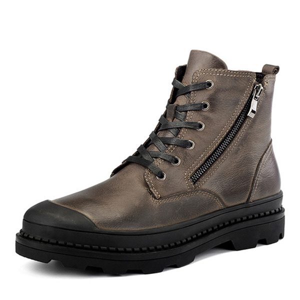 Men's Real Leather Lace-up Chukka Casual Men's Boots