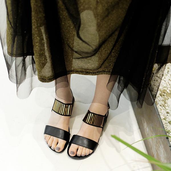 Женщины Натуральня кожа Плоский каблук Сандалии На плокой подошве Открытый мыс Босоножки с пряжка обувь
