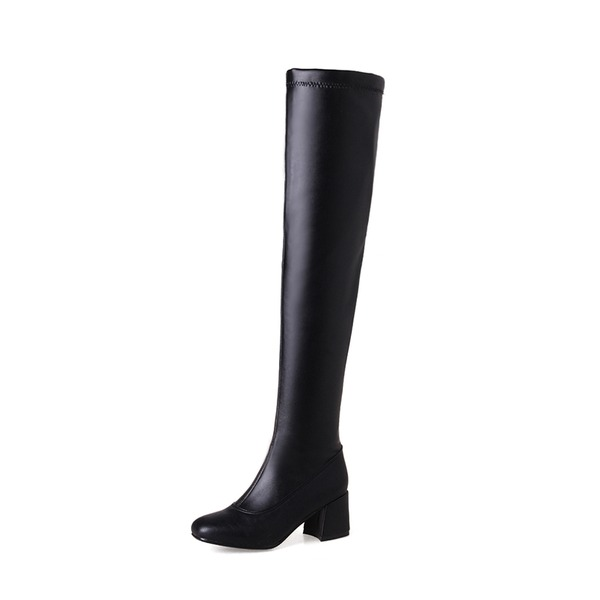 Women's PU Chunky Heel Pumps Boots Over The Knee Boots With Zipper shoes