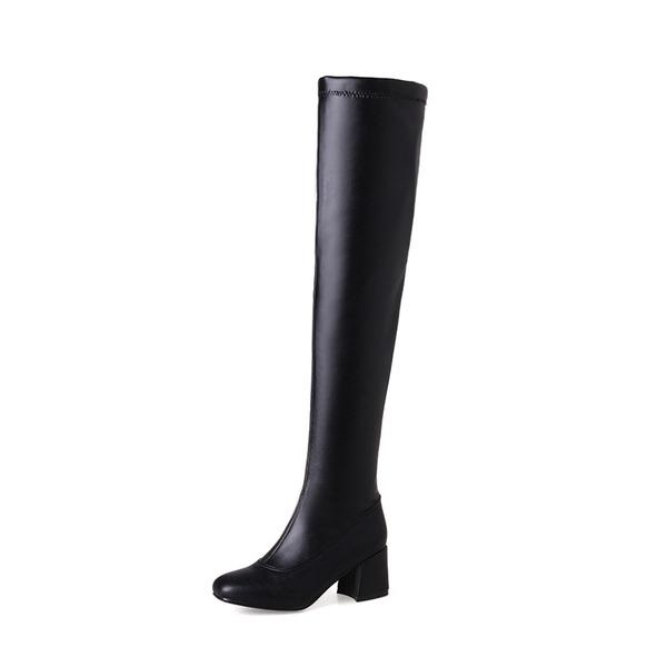 Donna PU Tacco spesso Stiletto Stivali Stivali sopra il ginocchio con Cerniera scarpe