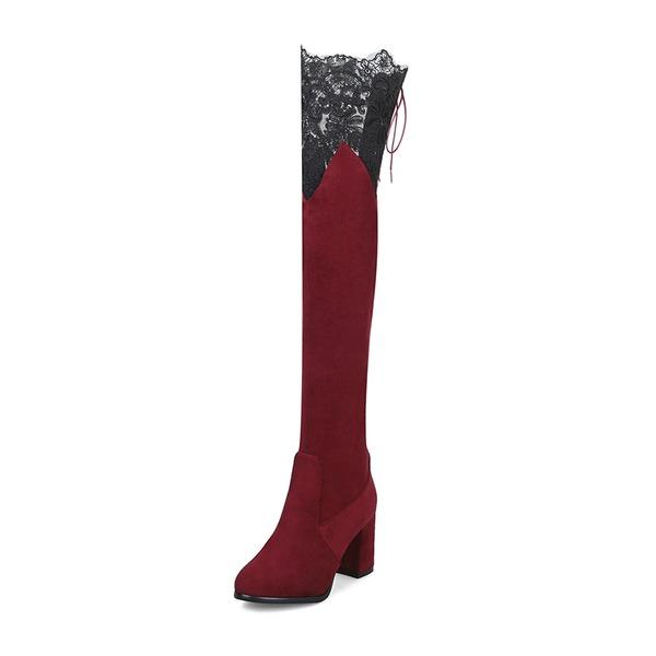 Frauen Veloursleder Stämmiger Absatz Stiefel Stiefel über Knie Martin Stiefel mit Stich Spitzen Zuschnüren Gummiband Schuhe