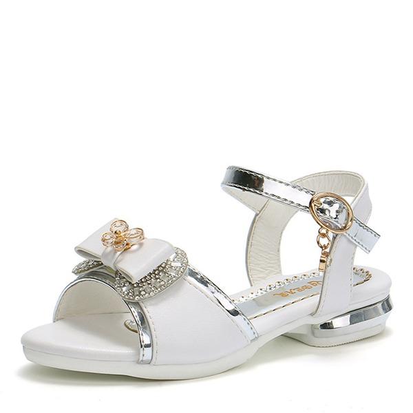Jentas Round Toe Titte Tå Leather flat Heel Sandaler Flate sko Flower Girl Shoes med Bowknot Crystal