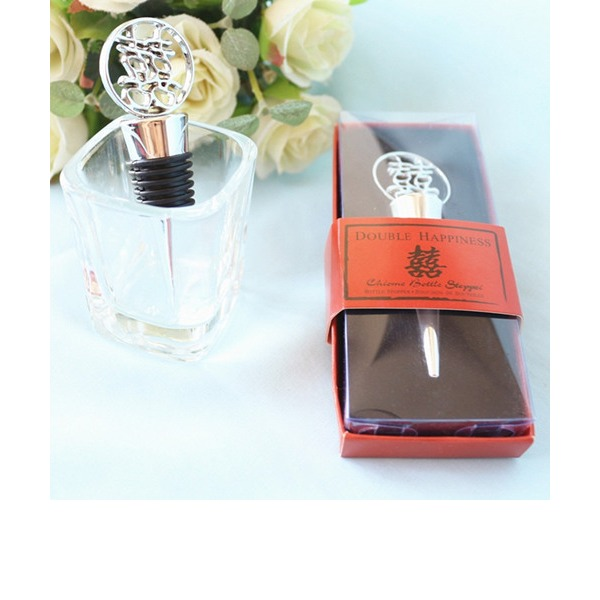 Chinese Double Happiness Elegant Chrome Bottle Stopper
