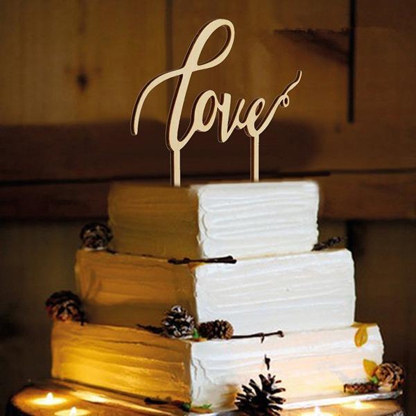 Conception d'amour Bois Décoration pour gâteaux (Lot de 2)