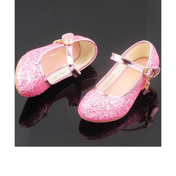 Flicka rund tå sparkling blänker Flower Girl Shoes med Kristall