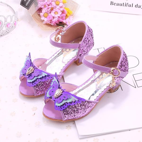 Fille de À bout ouvert similicuir Low Heel Escarpins Chaussures de fille de fleur avec Bowknot Boucle Strass Pailletes scintillantes