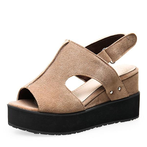 Mulheres Camurça Plataforma Sandálias Bombas Calços Peep toe com Outros sapatos