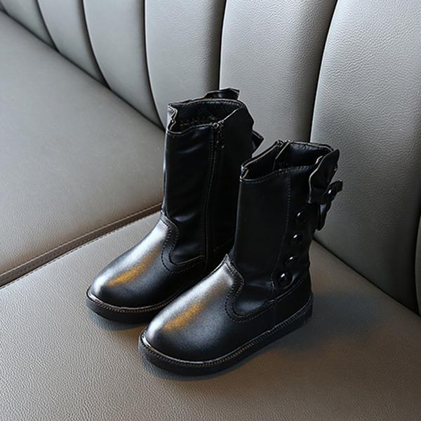 Jentas Round Toe Lukket Tå Leather flat Heel Støvler Flower Girl Shoes med Bowknot Glidelås