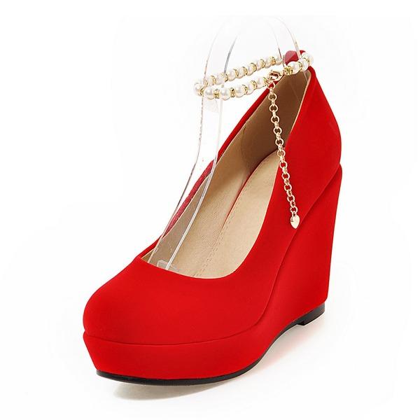 Kvinnor Mocka Kilklack Plattform Kilar med Kedja skor