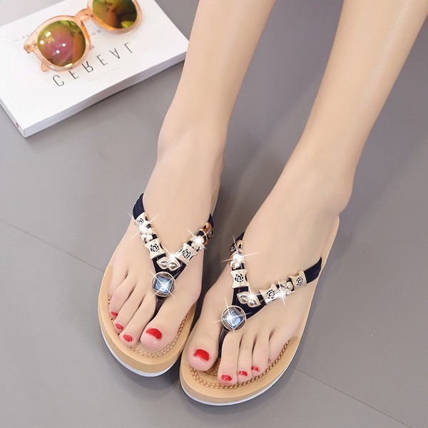 Femmes Suède Talon compensé Sandales Chaussons avec Strass chaussures