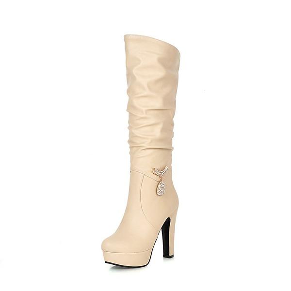 Frauen Kunstleder Stöckel Absatz Absatzschuhe Plateauschuh Stiefel Kniehocher Stiefel mit Strass Kette Schuhe