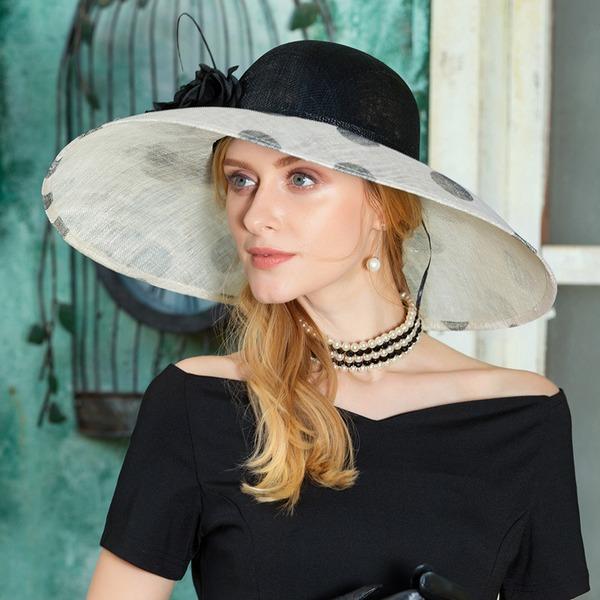 Damene ' Vakkert Cambric med Fjær/Blomst Diskett Hatt