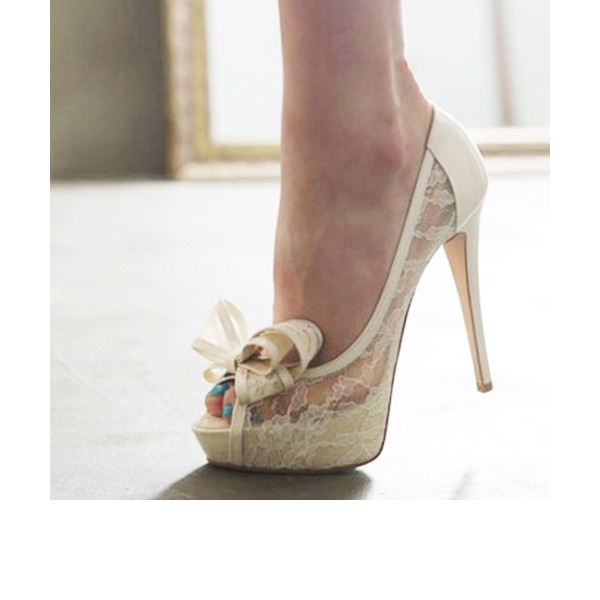 Femmes Dentelle Talon stiletto À bout ouvert Plateforme Beach Wedding Shoes avec Bowknot