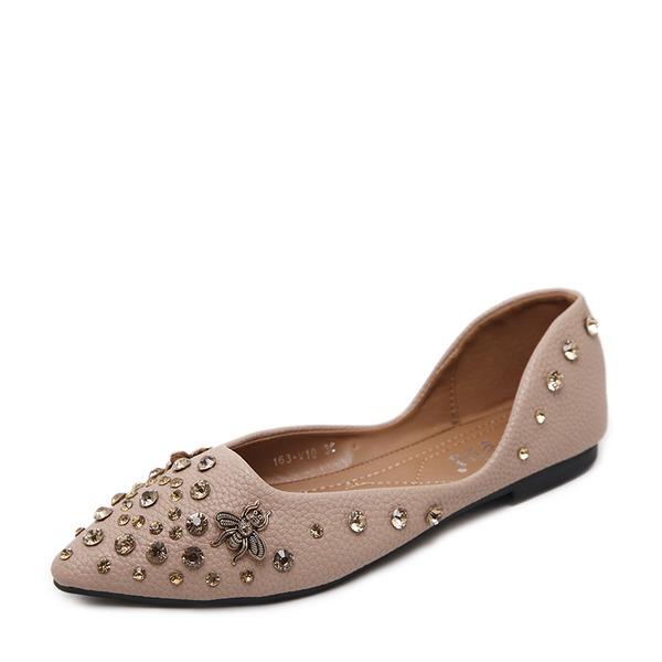 Women's PU Flat Heel Flats Closed Toe With Rhinestone Rivet shoes