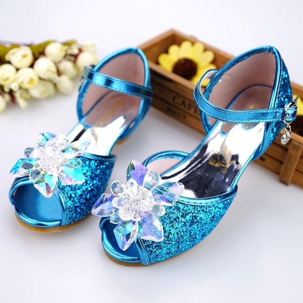 Flicka Peep Toe konstläder låg klack Sandaler Flower Girl Shoes med Spänne Strass Glittrande Glitter
