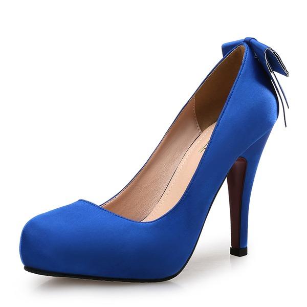 Femmes Satiné Talon stiletto Escarpins Plateforme Bout fermé avec Bowknot chaussures