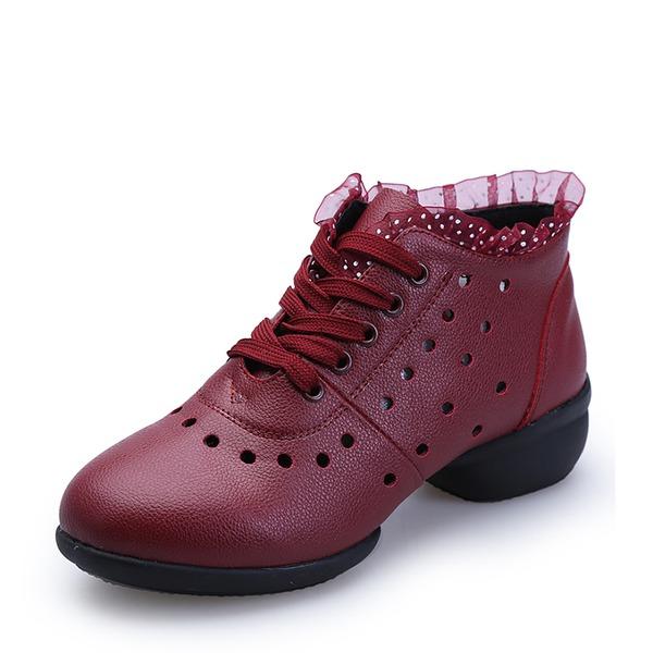 Donna Vera pelle Sneakers Stivaletti con Allacciato Scarpe da ballo