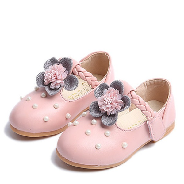 Jentas Round Toe Lukket Tå Leather flat Heel Flate sko Flower Girl Shoes med Blomst Perle
