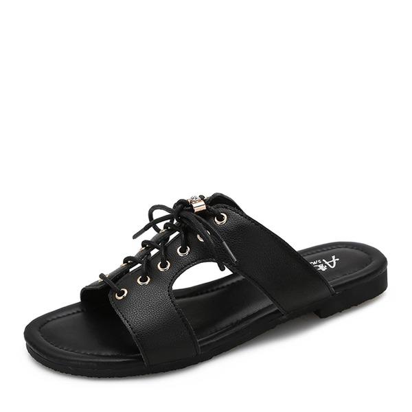 Frauen Microfaser-Leder Flascher Absatz Sandalen Flache Schuhe Peep Toe mit Zuschnüren Schuhe
