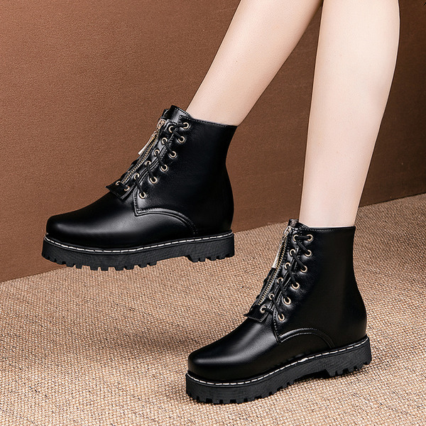 Women's PU Flat Heel Platform Boots Ankle Boots With Lace-up shoes