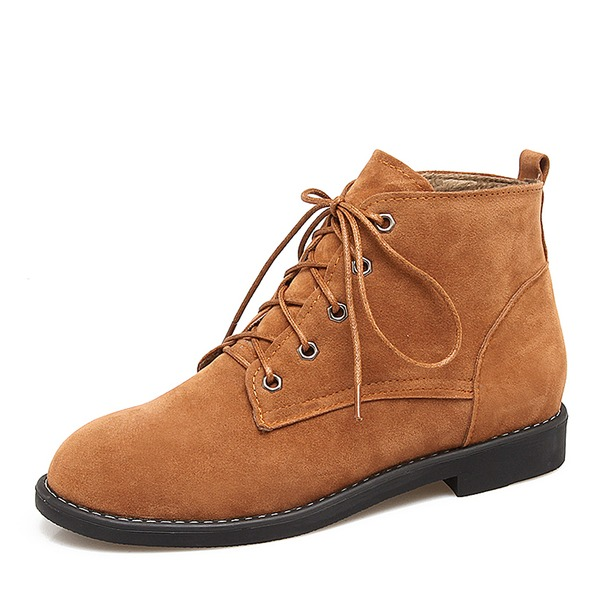 Kvinnor Mocka Låg Klack Stövlar Boots med Bandage skor