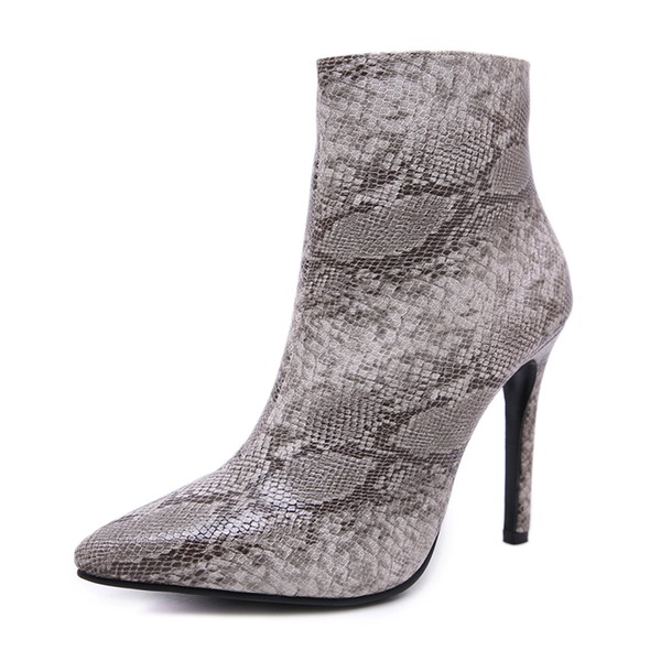 Kadın Suni deri İnce Topuk Kapalı Toe Bot Ayak bileği Boots Ile Fermuar ayakkabı